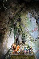 A small altar at the entrance to the Huyen Khong Cave, Nhuy Son Mountain, Da Nang, Vietnam