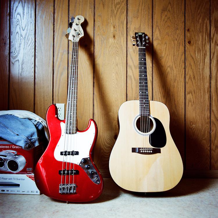 NEWTOK, ALASKA - 2008: John Peter John's guitars.