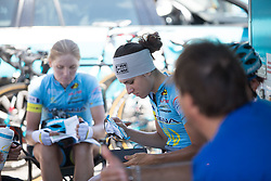 Astana Women Cycling Team riders prepare their glasses before they ride to the start of Stage 8 of the Giro Rosa - a 141.8 km road race, between Baronissi and Centola fraz. Palinuro on July 7, 2017, in Salerno, Italy. (Photo by Balint Hamvas/Velofocus.com)