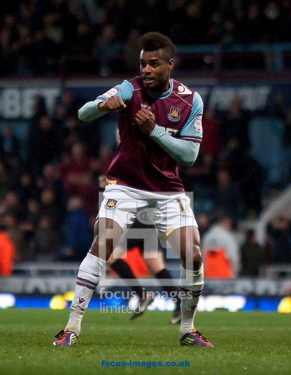 Picture by Daniel Chesterton/Focus Images Ltd. 07966 018899.09/04/12.Ricardo Vaz Te of West Ham scores his side's third goal and celebrates during the Npower Championship match at the Boleyn Ground stadium, London.