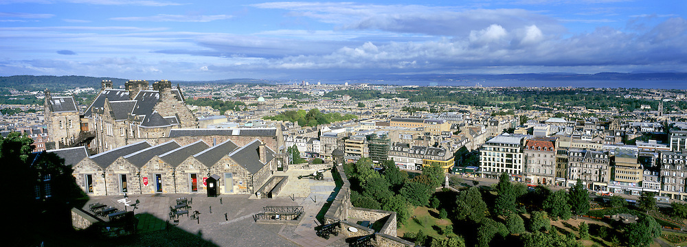 View overlooking Edinburgh city looking west from the Castle