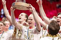 2019-04-27 |Stockholm | SSL Championship Trophy lifted by Storvreta (21) Jesper Berggren. (Photo by Daniel Carlstedt | Swe Press Photo).