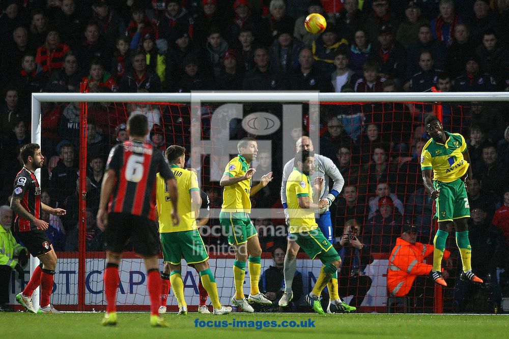 Alexander Tettey of Norwich heads clear during the match at the Goldsands Stadium, Bournemouth<br /> Picture by Paul Chesterton/Focus Images Ltd +44 7904 640267<br /> 10/01/2015