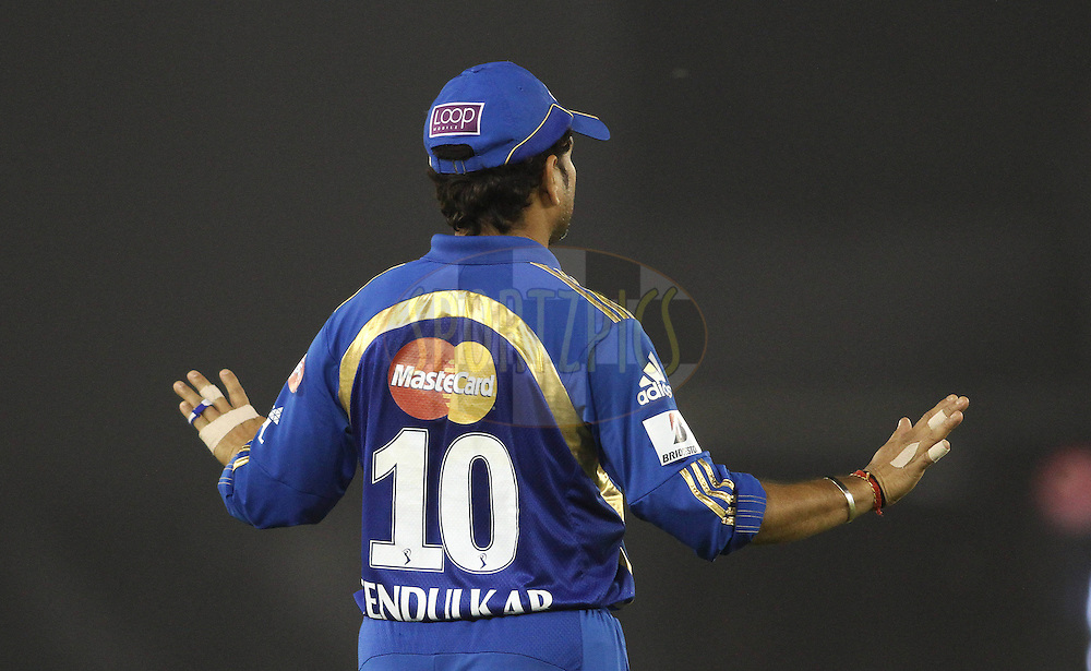 Captain Sachin Tendulkar of the Mumbai Indians during match 54 of the Indian Premier League ( IPL ) Season 4 between the Kings XI Punjab and the Mumbai Indians held at the PCA stadium in Mohali, Chandigarh, India on the 10th May 2011..Photo by Shaun Roy/BCCI/SPORTZPICS .