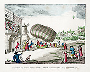 Robert Brothers and Collin-Hullin 186km flight, 19 September 1784 in elongated hydrogen balloon with oars, an attempt at a steerable craft. From 'Histoire des Ballons' by Gaston Tissandier, Paris, 1887. Aviation Aeronautics