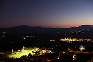 Viggiano, Italia - Una veduta notturna  del centro olii Eni a Viggiano. Sul lato sinistro un campo da calcio regolamentare in erba sintetica.<br /> Ph. Roberto Salomone