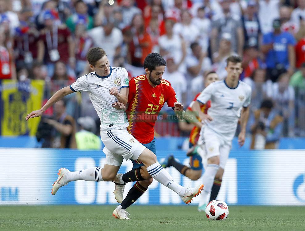 July 1, 2018 - Moscow, Russia - Round of 16 Russia v Spain - FIFA World Cup Russia 2018.Daler Kuziaev (Russia) and Isco (Spain) at Luzhniki Stadium in Moscow, Russia on July 1, 2018. (Credit Image: © Matteo Ciambelli/NurPhoto via ZUMA Press)