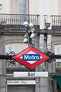 Metro Sign, Puerta del Sol, Madrid, Spain