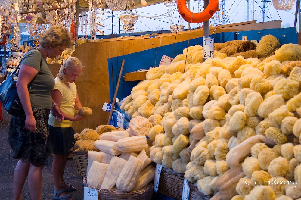 Natural sponges for sail at a souvenir shop in Rhodes Town, Rhodes, Dodecanese Islands,, Greece