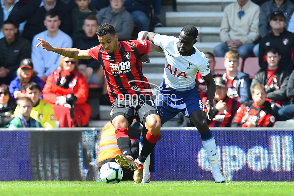 Joshua King (17) of AFC Bournemouth battles for possession with Davinson Sanchez (6) of Tottenham Hotspur during the Premier League match between Bournemouth and Tottenham Hotspur at the Vitality Stadium, Bournemouth, England on 4 May 2019.
