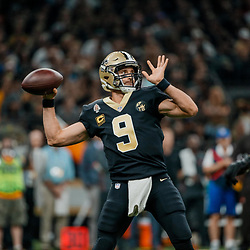 Sep 16, 2018; New Orleans, LA, USA; New Orleans Saints quarterback Drew Brees (9) throws against the Cleveland Browns during the first quarter of a game at the Mercedes-Benz Superdome. Mandatory Credit: Derick E. Hingle-USA TODAY Sports