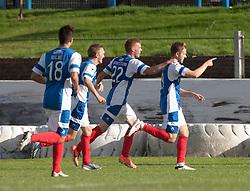 Cowdenbeath's Greg Stewart celebrates after scoring their goal.<br /> Cowdenbeath 1 v 0 Falkirk, 14/9/2013.<br /> &copy;Michael Schofield.