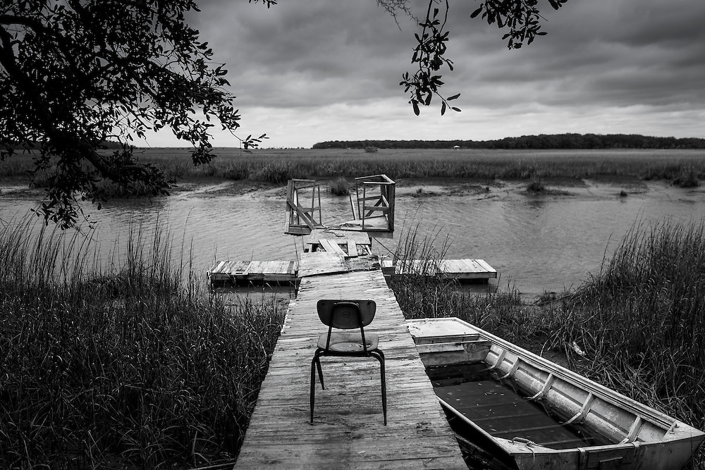An old dock faces out into the marsh on St. Helena Island, S.C.