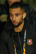 Rafik Guitane (10) of Rennes arrives ahead of the Europa League match between Celtic and Rennes at Celtic Park, Glasgow, Scotland on 28 November 2019.