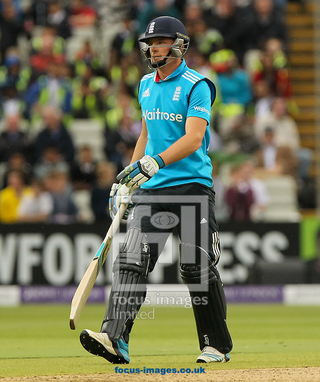 Jos Buttler of England walks off after getting out during the Royal London One Day Series match at Edgbaston, Birmingham<br /> Picture by Tom Smith/Focus Images Ltd 07545141164<br /> 03/06/2014