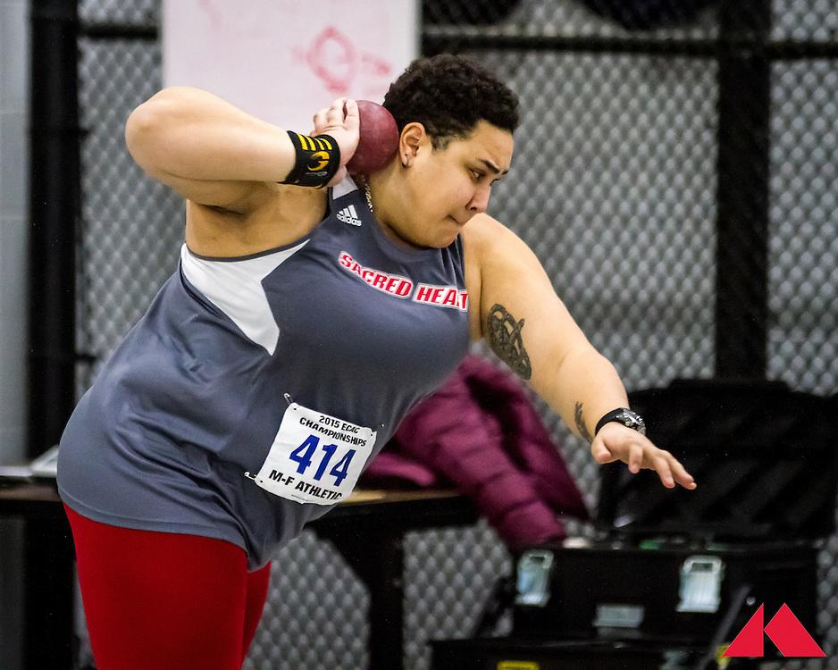 ECAC Indoor Champs, womens shot put, Smith, Sacred Heart
