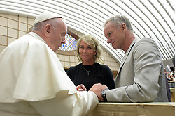 Pope Francis greets British musician Sting (Gordon Sumner) and his wife Trudie Styler at the end of the weekly general audience at the Vatican on August 8, 2018. After the brief meeting with the pope, Sting had the opportunity to see the Vatican museums and the Sistine Chapel. The Vatican Museums have collaborated with Sting to create a surround-sound, live show telling the tale of Michelangelo and the Sistine chapel his frescoed masterpiece. The 9 million euro production, 'Universal Judgment: Michelangelo and the Secrets of the Sistine Chapel,' debuted on March 2018 at an auditorium near the Vatican. Photo by ABACAPRESS.COM