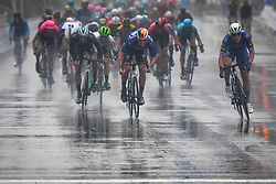 October 21, 2018 - Guilin, China - Fabio Jacobsen (Right) of Netherlands and Quick Step Floors Team  on his way to win the stage, challenged by Pascal Ackermann (Left) of Germany and Bora - Hansgrohe Team, the six and final stage, 169km Guilin Stage, of the 2nd Cycling Tour de Guangxi 2018. .On Sunday, October 21, 2018, in, Guilin, China. (Credit Image: © Artur Widak/NurPhoto via ZUMA Press)