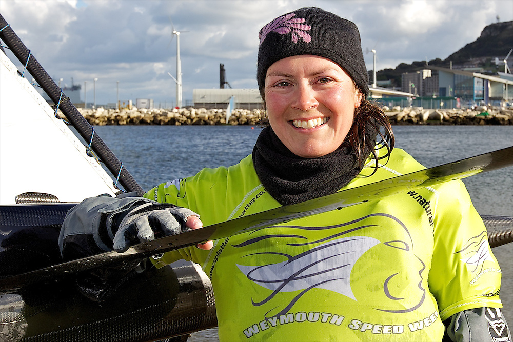 ENGLAND, Weymouth, Weymouth and Portland National Sailing Academy, 22nd October 2010, Weymouth Speed Week. Katherine Knight, helm of Mach 2 foiling Moth GBR 3021.