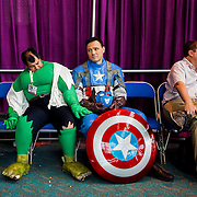 The Incredible Hulk dozes off next to Captain America.