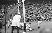 Players fall over the goal line in a fight to save the ball during the start of the All Ireland Senior Gaelic Football Championship Final Cork v Galway in Croke Park on the 23rd September 1973. Cork 3-17 Galway 2-13.