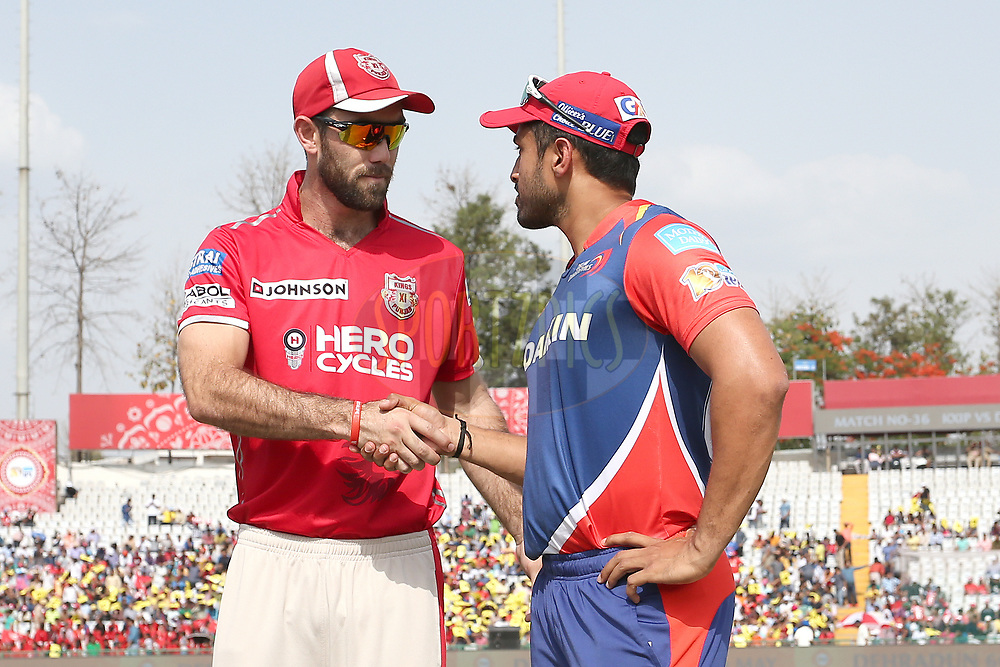 Kings XI Punjab captain Glenn Maxwell and Delhi Daredevils captain Karun Nair shake hands at the toss during match 36 of the Vivo 2017 Indian Premier League between the Kings XI Punjab and the Delhi Daredevils held at the Punjab Cricket Association IS Bindra Stadium in Mohali, India on the 30th April 2017<br /> <br /> Photo by Shaun Roy - Sportzpics - IPL