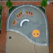 Aerial view of the south end of the African Burying Ground memorial in Portsmouth, NH, looking straight down on a cloudy morning.