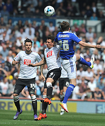 IPSWICH ADAM McDONNELL HOLDS OF DERBY CRAIG BRYSON, Derby County v Ipswich Town Championship, IPro Stadium, Saturday 7th May 2016. Photo:Mike Capps