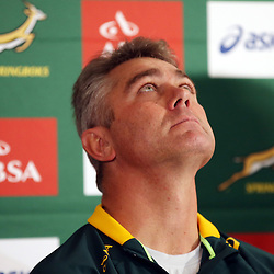 DURBAN, SOUTH AFRICA - JUNE 11: Heyneke Meyer (Head Coach) of South Africa during the South African National rugby team announcement at Kashmir Restaurant  on June 11, 2014 in Durban, South Africa. (Photo by Steve Haag/Gallo Images)