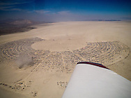 Areal view of Burning Man - small dust storm near Center Camp.