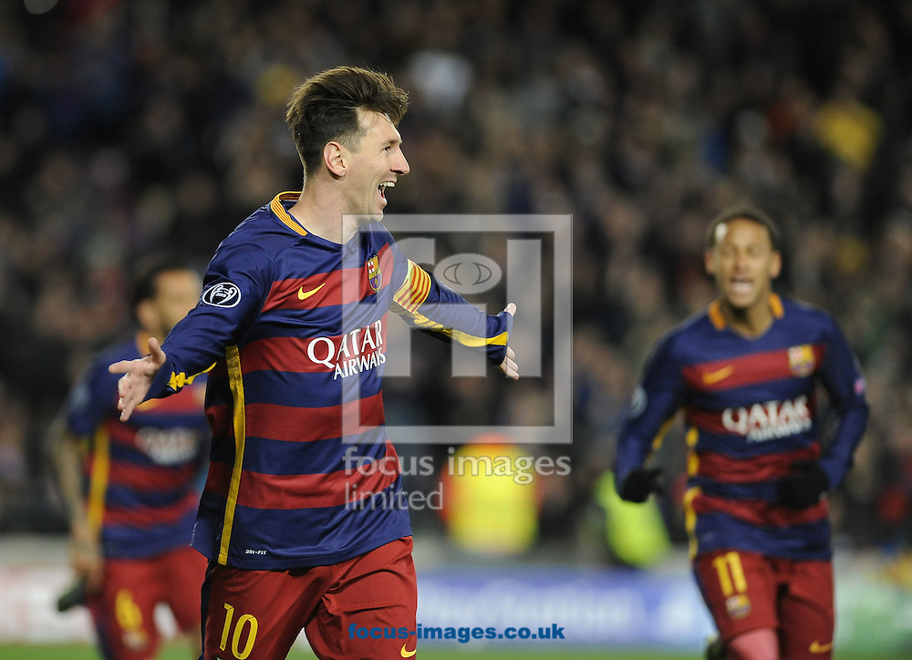 Lionel Messi of FC Barcelona celebrates scoring his second goal during the UEFA Champions League match at Camp Nou, Barcelona<br /> Picture by Stefano Gnech/Focus Images Ltd +39 333 1641678<br /> 24/11/2015