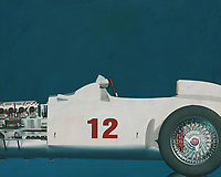 The Mercedes-Benz W 196 R designed for the 1954 season met all the demands of the new Grand Prix formula decreed by the sport's governing body, the CSI (Commission Sportive Internationale): a capacity of 750 cc with or 2500 cc without supercharger, free choice of gas mixture, a racing distance of 300 kilometres or a minimum of three hours. The streamlined version was completed first because the Reims race kicking off the season permitted very high speeds. After that there was also a version with exposed wheels.