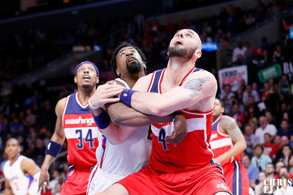 20 March 2015: Los Angeles Clippers center DeAndre Jordan (6) vies for the rebound with Washington Wizards center Marcin Gortat (4) during the Los Angeles Clippers 113-99 victory over the Washington Wizards, at the Staples Center, Los Angeles, California, USA.