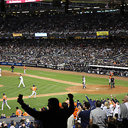 Pinch runner Jonathan Villar, Houston Astros, scores his sides third run on a single from Jose Altuve during the New York Yankees Vs Houston Astros, Wildcard game at Yankee Stadium, The Bronx, New York. 6th October 2015 Photo Tim Clayton for The Players Tribune
