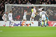 Tottenham Hostpur striker Harry Kane (10) scoring own goal during the Europa League match between Tottenham Hotspur and KAA Gent at Wembley Stadium, London, England on 23 February 2017. Photo by Matthew Redman.
