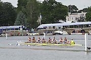 Henley, GREAT BRITAIN,  Remenham Challenge Cup. Munchener Ruderclub von 1880E.V. and Hurter Rudergesellschaft. GER.  at the 1.1/8 mile post during  their Thursday race. 2012 Henley Royal Regatta. 2012 Henley Royal Regatta. ..Thursday  11:12:38  28/06/2012. [Mandatory Credit, Peter Spurrier/Intersport-images]...Rowing Courses, Henley Reach, Henley, ENGLAND . HRR.