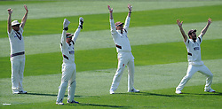 Somerset's Jim Allenby, Alex Barrow, Marcus Trescothick and Lewis Gregory unsuccessfully appeals for an LBW decision. - Photo mandatory by-line: Harry Trump/JMP - Mobile: 07966 386802 - 08/04/15 - SPORT - CRICKET - Pre Season - Somerset v Lancashire - Day 2 - The County Ground, Taunton, England.