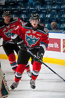 KELOWNA, CANADA - OCTOBER 14: Lucas Johansen #7 of Kelowna Rockets warms up against the Saskatoon Blades on October 14, 2016 at Prospera Place in Kelowna, British Columbia, Canada.  (Photo by Marissa Baecker/Shoot the Breeze)  *** Local Caption *** Lucas Johansen;