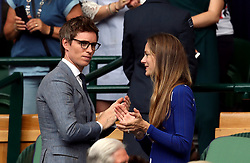 Eddie and Hannah Redmayne in the royal box of centre court on day thirteen of the Wimbledon Championships at The All England Lawn Tennis and Croquet Club, Wimbledon.