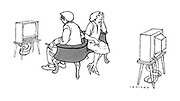 (a cartoon showing a couple in a love seat watching two different television sets)