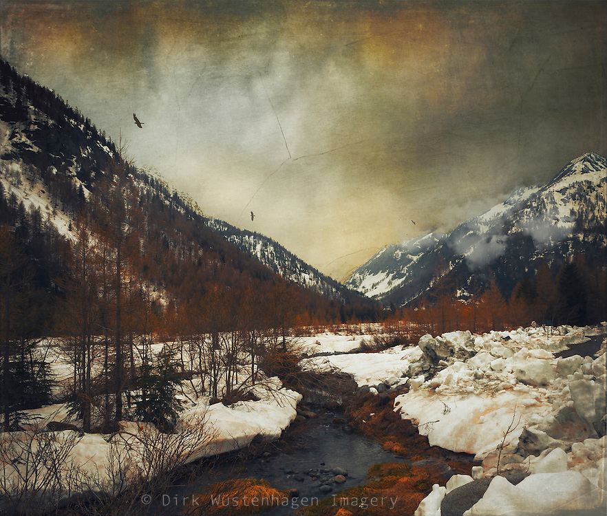 Alpine valley in the italian alps at the end of winter - textured photograph<br />