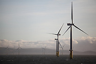 19/03/2014. Gwnt y Mor Wind Farm, North Wales, UK. A view of the turbines and foundations on the Gwynt y Mor Offshore Wind Farm off the coast of North Wales. Photo credit : Rob Arnold