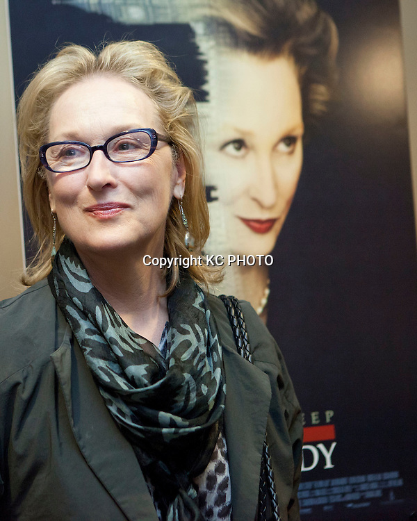 "Actress Meryl Streep speaks during a screening of her upcoming movie ""The Iron Lady,""  at E street Cinema on November 29, 2011 in Washington DC. Photo by Graeme Jennings/KC PHOTO"