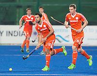RAIPUR (India) . Valentin Verga (Ned) en Mirco Pruijser (Ned)    tijdens de wedstrijd tussen Nederland en Argentinie,  in de finaleronde van de Hockey World League. COPYRIGHT  KOEN SUYK