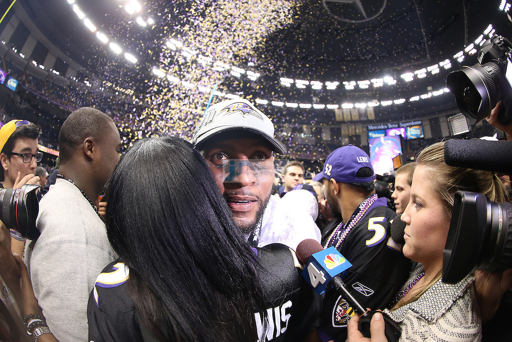 Ray Lewis (52) of the Baltimore Ravens celebrates after defeating the San Francisco 49ers during the NFL Super Bowl XLVII football game in New Orleans on Feb. 3, 2013. The Ravens won the game, 34-31.  (Photo by Jed Jacobsohn)