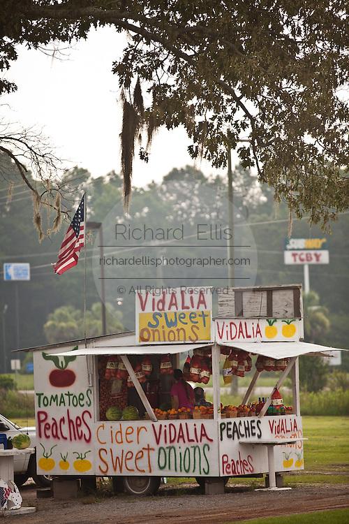 Roadside farm stand selling local produce including Vidalia onions and peaches