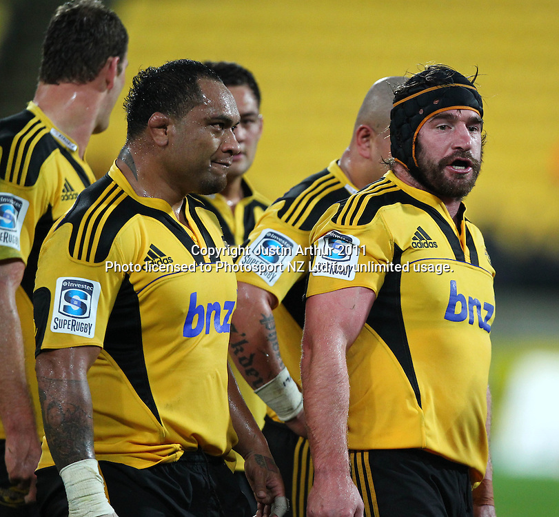 Hurricanes Andrew Hore and Neemia Tialata .Super15 rugby union match - Crusaders v Hurricanes at Westpac Stadium, Wellington, New Zealand on Saturday, 18 June 2011. Photo: Justin Arthur / photosport.co.nz
