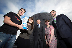 Repro Free: 11/10/2013 Ollie Fegan of Temptster and Iseult Ward of Foodcloud, two of the 30 shortlisted companies chosen finalists in Ireland's most prestigious start-up competition, The ESB Spark of Genius Award pictured with Donal Flynn, Group Finance Director, ESB, David Scanlon, Enterprise Ireland and Clare Dilion, Microsoft. The winner of which will be announced at the Dublin Web Summit on October 31st with a cash prize of €25,000 plus a fund of services. Picture Andres Poveda