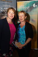 "Margaret Tuohy and Judy Murphy  at the World Premiere of the ""Luck Just Kissed you Hello""by Amy Conroy in the Mick Lally theatre (Druid) on the opening night of Galway international Arts Festival. Photo:andrew Downes xposure"