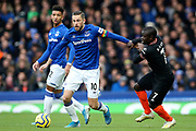 Everton midfielder Gylfi Sigurdsson (10) and Chelsea midfielder Ngolo Kante (7) during the Premier League match between Everton and Chelsea at Goodison Park, Liverpool, England on 7 December 2019.